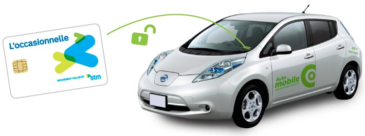 Use your Occasionnelle card to access the Communauto electric vehicle